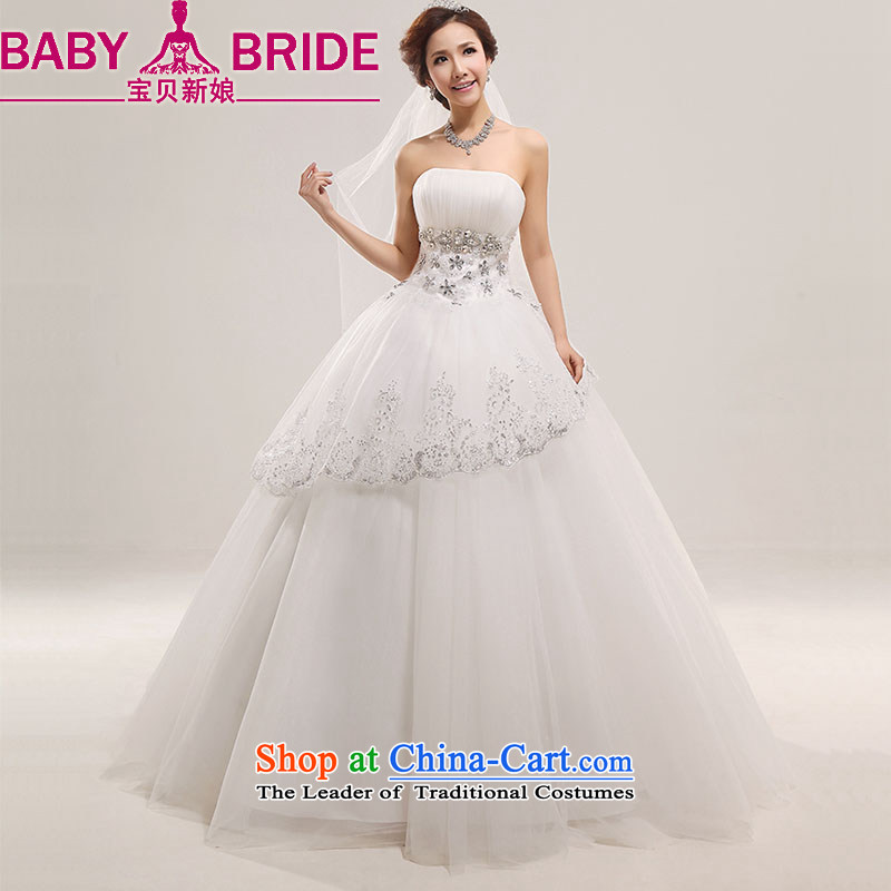 Baby bride wedding dresses?2014 new lace Korean sweet Princess Mary Magdalene chest diamond alignment marry wedding white?S