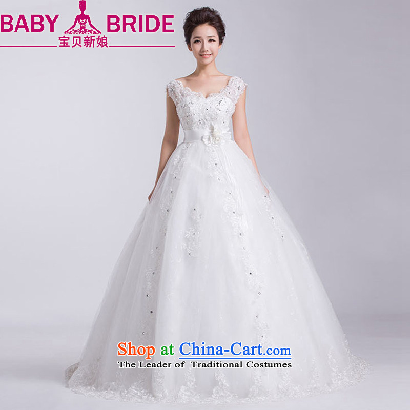 �2014 new bride treasure wedding dresses Korean word shoulder V-Neck shoulders to align the large number of pregnant women video thin white wedding�S