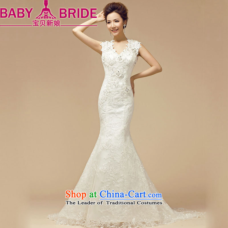 The 2014 Spring bride treasure the new word shoulder deep V back end crowsfoot wedding dresses Bride With White?XXL