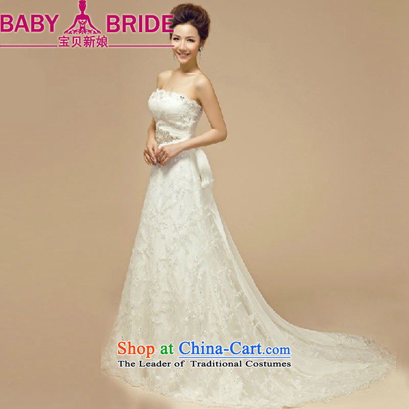 Baby bride wedding dresses 2014 new Korean lace larger marriages straps and chest video thin tail pregnant women wedding white?L