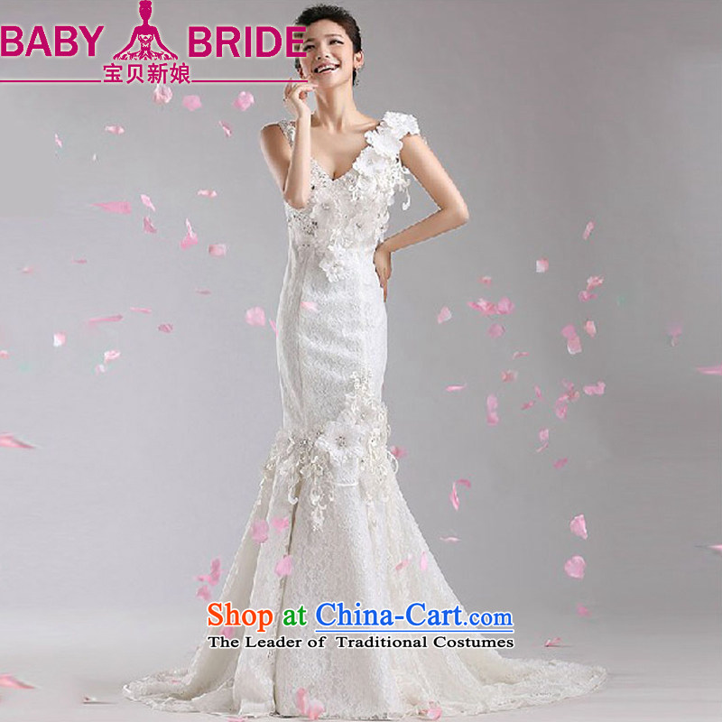 Baby bride tail Wedding 2014 new Korean white spring and summer marriages lace v-neck crowsfoot wedding dresses White?XL