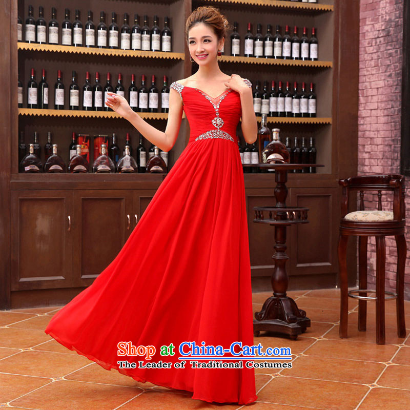 Optimize video new 2 red flash drill upscale shoulder wedding dress evening dresses XS8177 RED�S