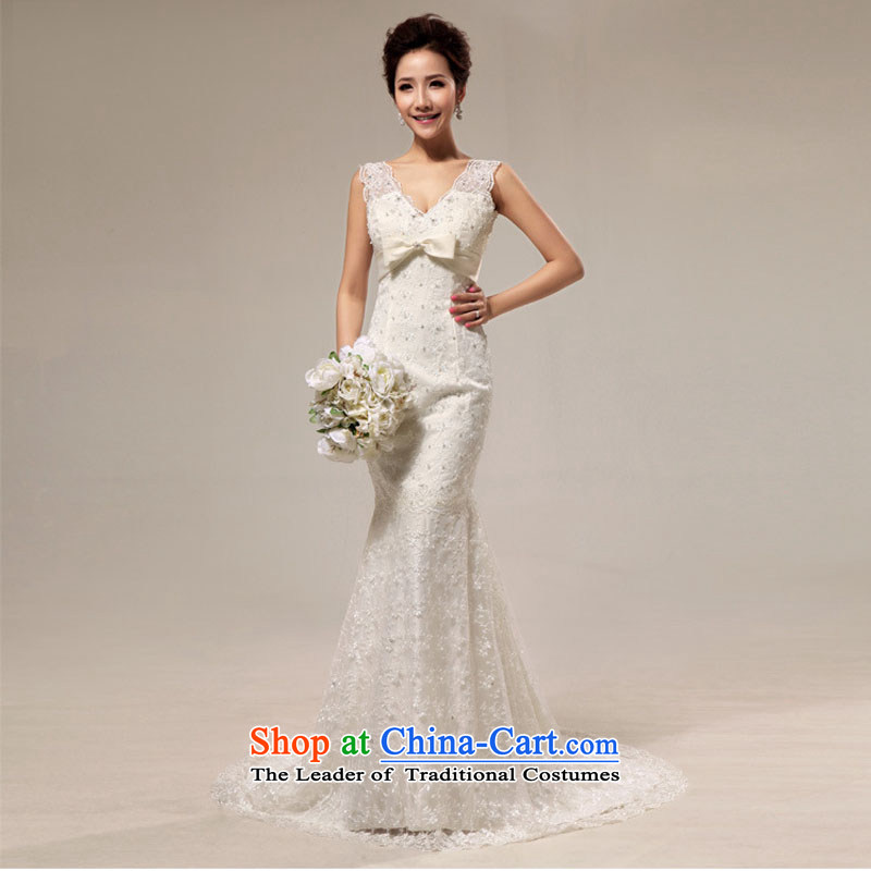 Optimize video new retro sexy deep V lace Sau San crowsfoot tail bride wedding XS8191 m White�M