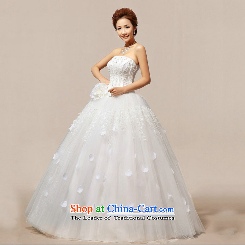 Optimize the new Korean Hong-bride anointed Chest Flower sweet wedding dresses princess skirt XS8193 m White�S