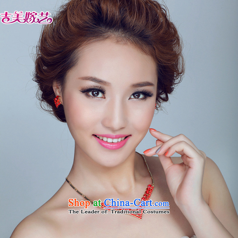 The bride wedding dresses accessories kit Korean TL136 link water drilling jewelry 2015 new marriage necklace red Ear Clip