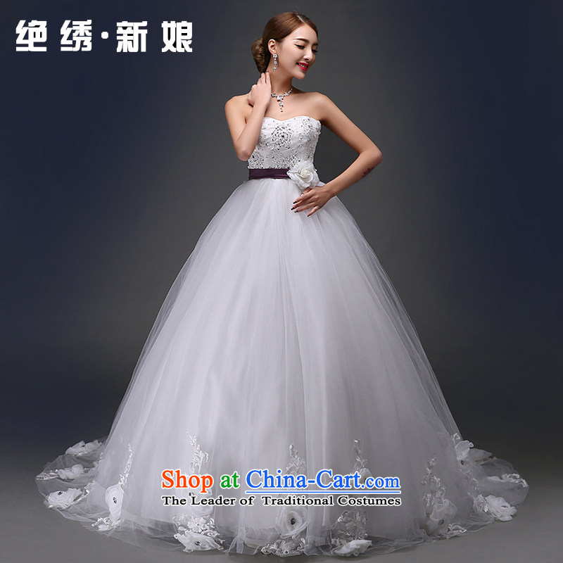 Embroidered Bride Korean-style is retro Deluxe Big tail flowers diamond anointed chest lace princess wedding dresses white?L Code Suzhou Shipment