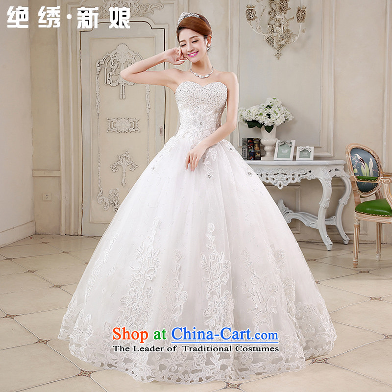 Embroidered is by no means a bride wedding dresses 2015 new luxury water drilling Korean Princess Mary Magdalene Chest straps Korean Bridal Suite White made does not allow