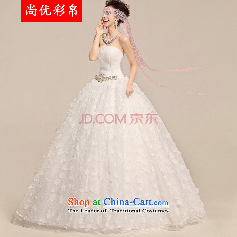 There is also optimized 8D simple and classy sweet sexy lace anointed chest Foutune of video wedding dresses XS5220 thin White聽XL