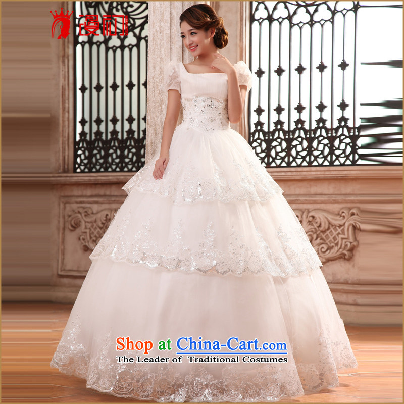 In the early 2015 new man wedding dress princess bubble cuff to align graphics thin wedding sweet word shoulder wedding bride White XL
