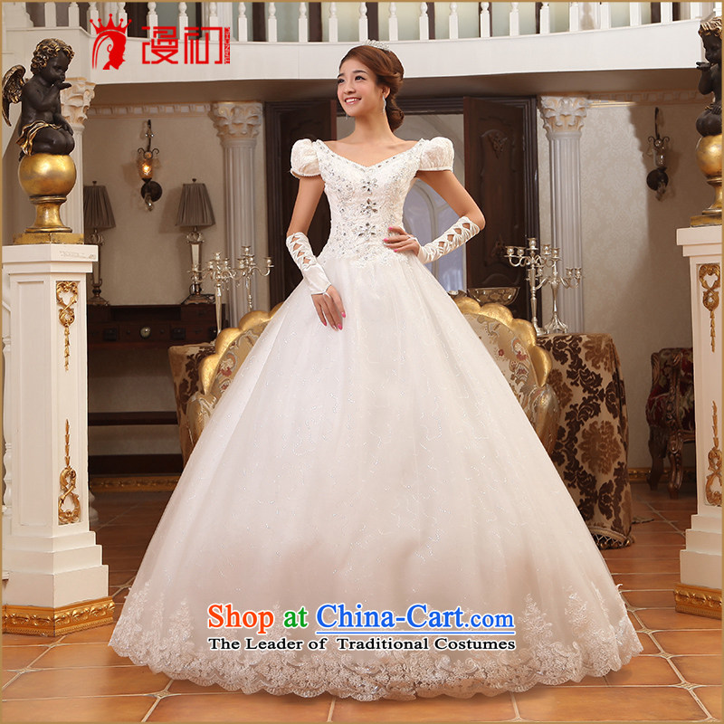 At the beginning of Castores Magi wedding dresses 2015 new sweet princess bubble cuff wedding Korean version thin wedding dresses H White?XL