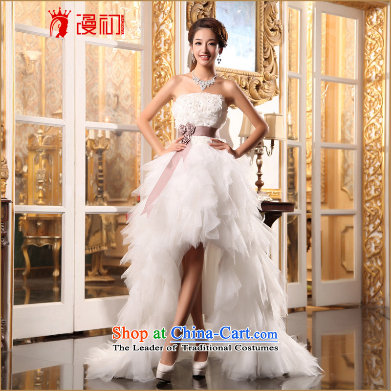 At the beginning of Castores Magi wedding dresses new 2015 Korean sweet words before the princess chest after short long small trailing marriages wedding White�XL