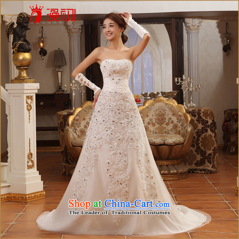 At the beginning of Castores Magi bride wedding dresses new 2015 small trailing princess wedding anointed chest trailing white wedding S