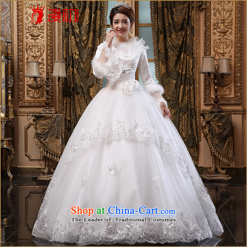 In the early 2015 new man winter wedding winter thick wedding dresses long-sleeved winter_ Marriages Wedding White燲L code