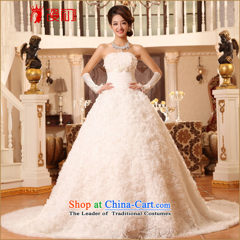 In the early 2015 new man bride wedding long tail Korean lace large tail deluxe tail wedding dresses white S code