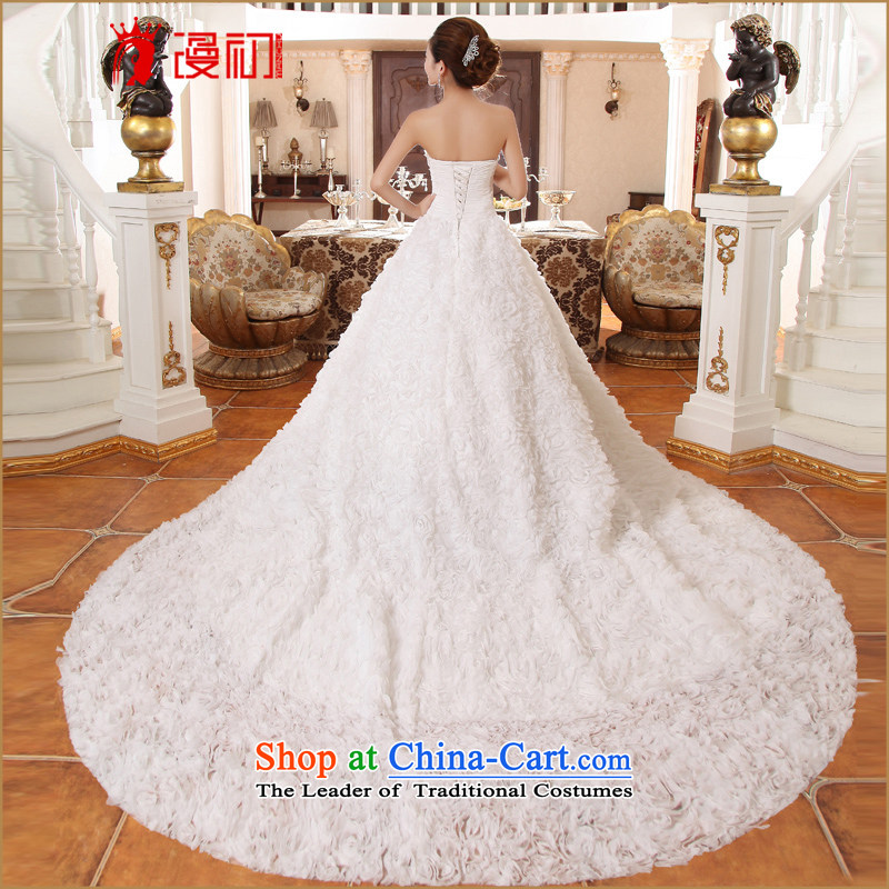 In the early 2015 new man bride wedding long tail Korean lace large tail deluxe tail wedding dress聽code, spilling white S early shopping on the Internet has been pressed.