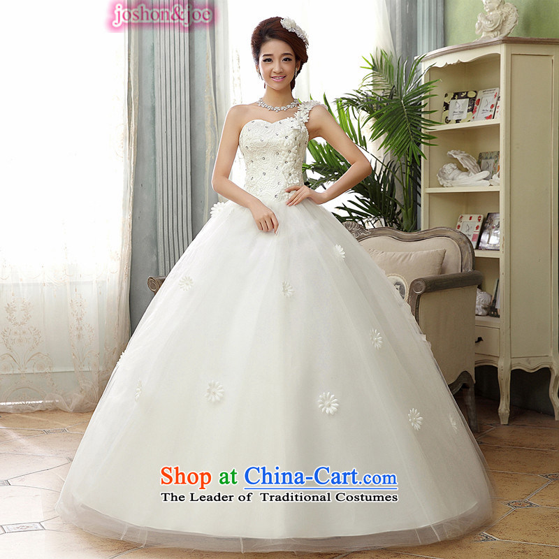 Joshon&joe winter wedding dresses, shoulder daisies petals Beveled Shoulder Korean anointed chest to sweet white large yarn princess�XXL