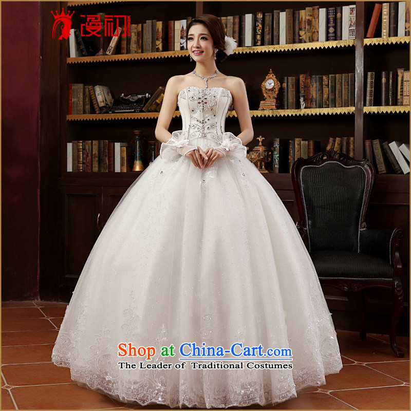In the early 2015 new man wedding dresses Korean wiping the chest straps graphics thin wedding inlet water drilling to align the Korean style wedding White XL