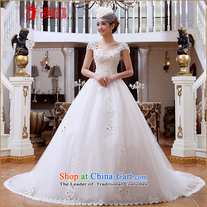 At the beginning of the New Year 2015 spread the word shoulder wedding Deluxe Big tail lace wedding fashion to align graphics Korean thin wedding tail wedding?L