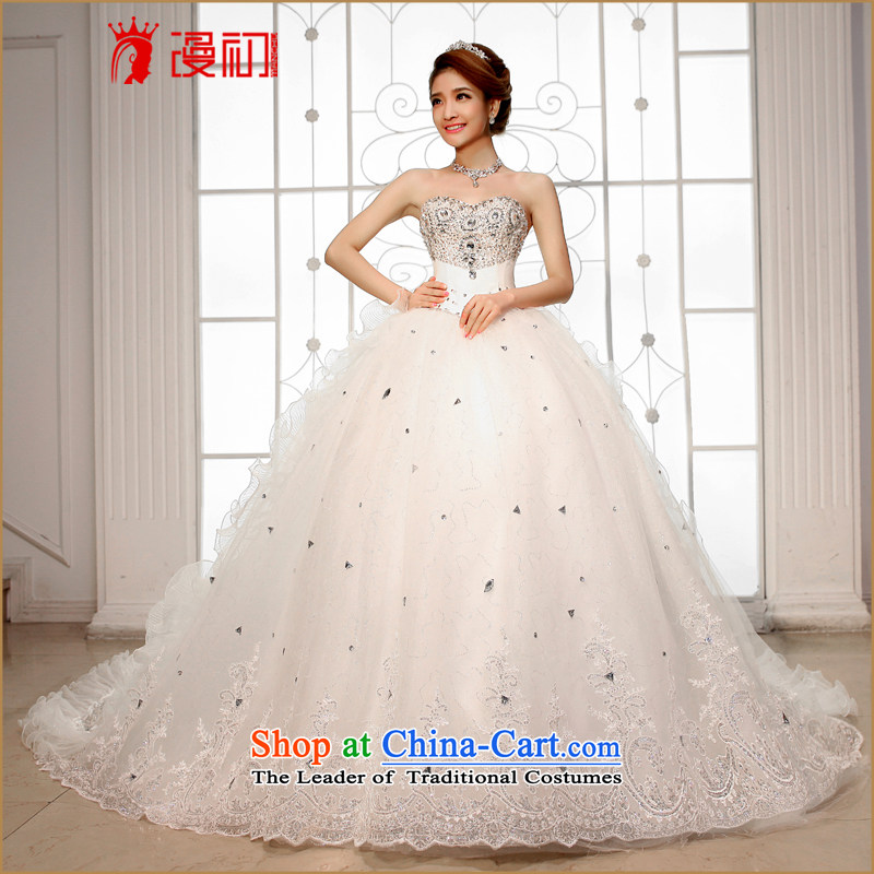 At the beginning of the New Year 2015 diffuse wedding dresses and chest Korean Deluxe Big tail wedding exclusive drill length tail wedding white?L