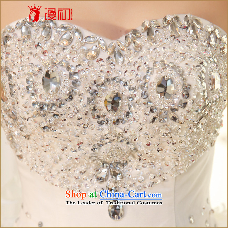 At the beginning of the New Year 2015 diffuse wedding dresses and chest Korean Deluxe Big tail wedding exclusive drill length trailing white wedding聽, L, Early Man , , , shopping on the Internet