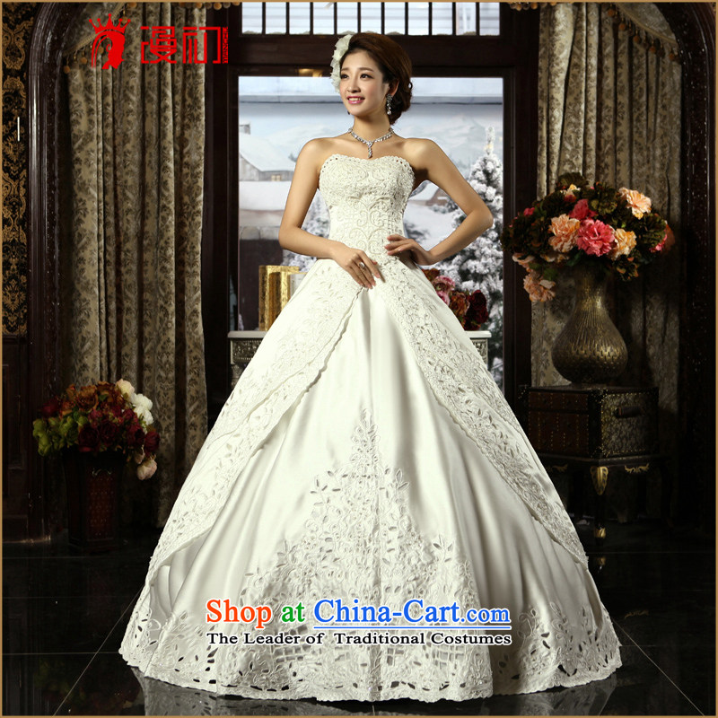 In the early 2015 new man wedding upscale Korean lace anointed chest Wedding Car bone embroidery to align bon bon skirt wedding White聽M