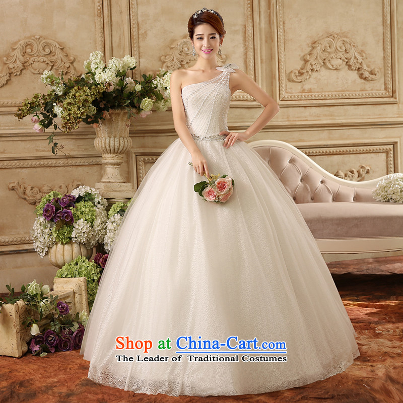 The new bride wedding dress Korea Edition Click to align the shoulder bolts pearl video thin diamond jewelry lace wedding look elegant large white?L/72 Hour
