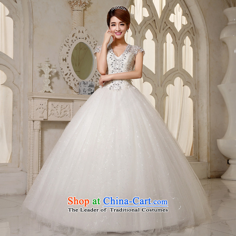 Embroidered is the?new Korean brides 2015 VERSION V-Neck Tie your shoulders to package yard white water drilling lace wedding white form does not allow for exchanges or refunds