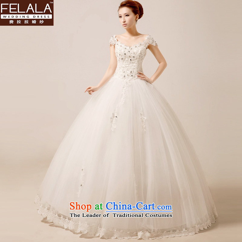 Ferrara Korean style wedding dresses of the word wedding dress summer shoulder bride wedding word shoulder female聽Wedding 2015 new wedding short, bon bon skirt white聽S聽Suzhou Shipment