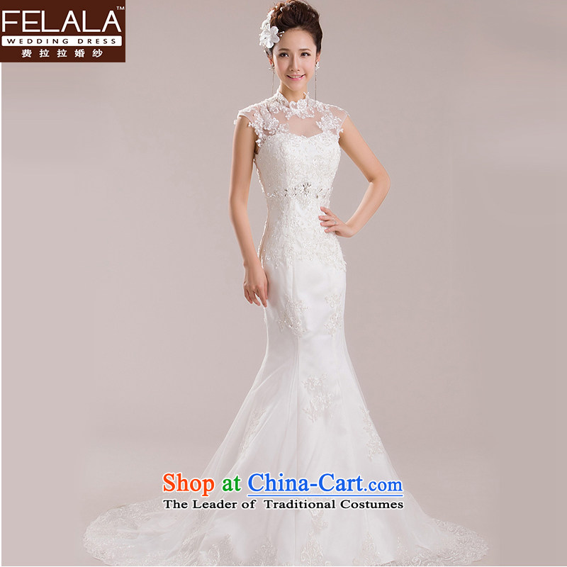 Ferrara?2015 new wedding retro collar lace a field shoulder shoulder crowsfoot small trailing white large spring?XL?Suzhou Shipment