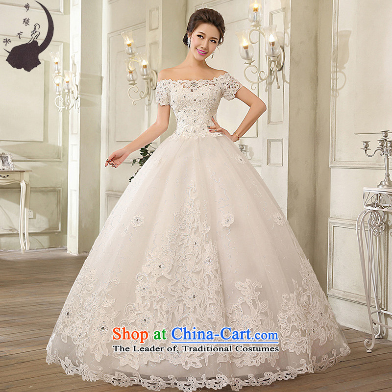 The leading edge of the field days shoulder wedding dresses 2015 Korean lace align to stylish wedding dress H1616 White XXL 2.3 feet take a two-sided waist