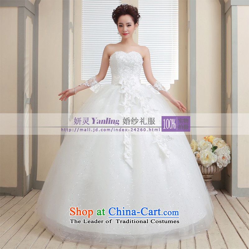 Charlene Choi Ling /YANLING Korean anointed chest bride wedding dresses and elegant with?14006?White?XXL