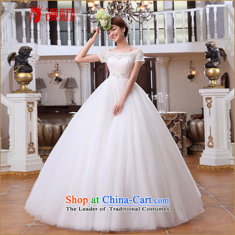 At the beginning of the New Year 2015 diffuse wedding word shoulder short-sleeved water-soluble lace wedding Korean Version to align the thin wedding white�L