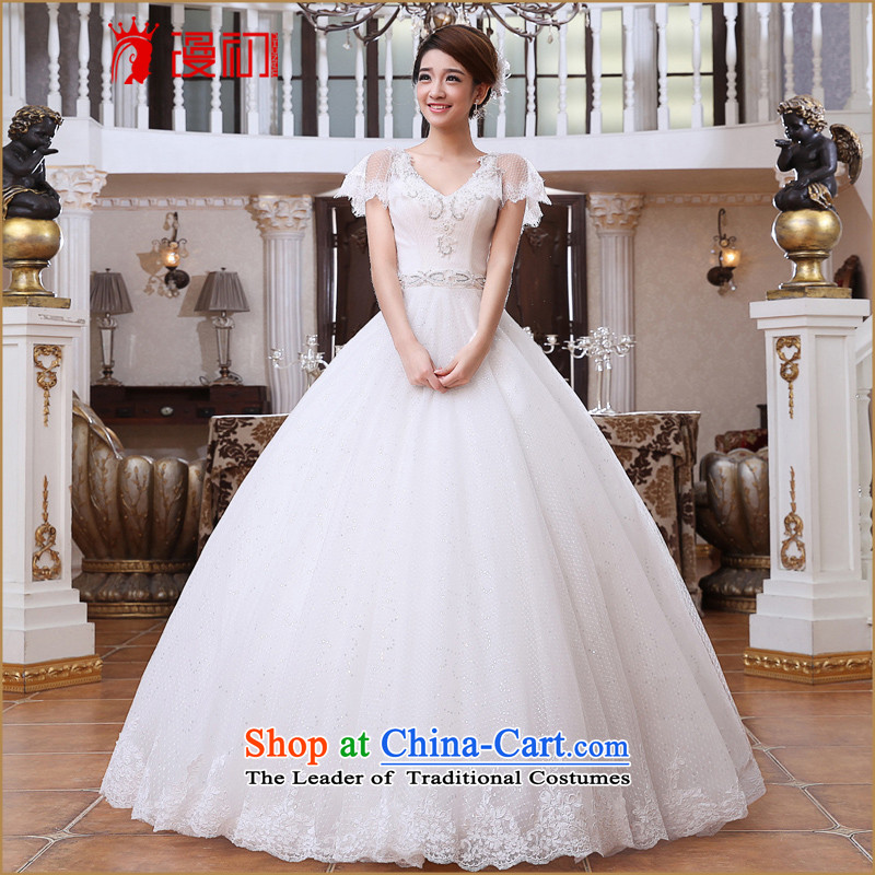At the beginning of the New Year 2015 diffuse bride wedding word shoulder deep V-Neck video thin wedding Korean to align the pregnant women wedding dresses White?M