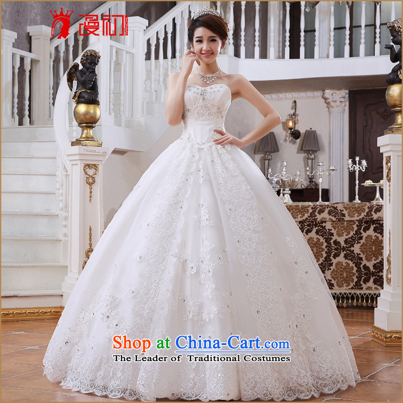 In the early 2015 new man Summer Wedding bride anointed chest to Korean style graphics thin lace bon bon skirt wedding White?M