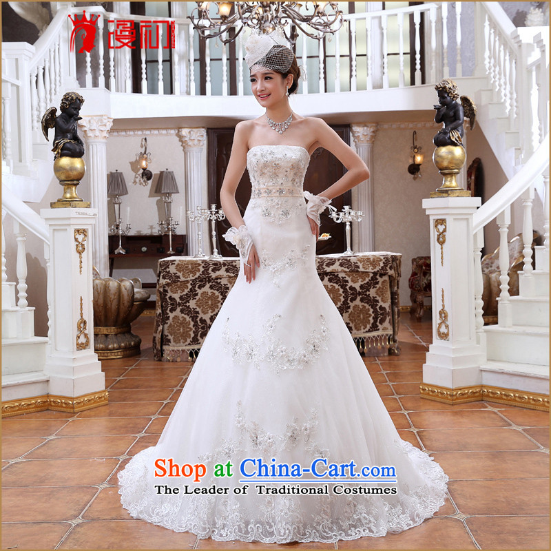 At the beginning of the New Year 2015 spread small trailing princess marriage wedding Korean wiping the chest of diamond ornaments crowsfoot video thin wedding trailing white�M