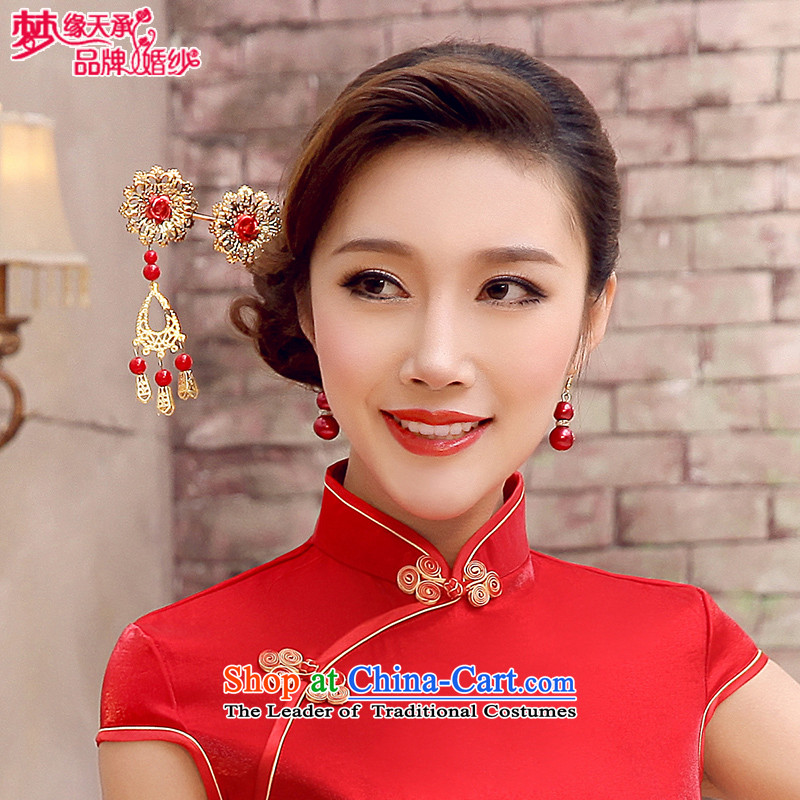 The leading edge of the red retro-day national qipao gown Ornate Kanzashi gate earrings bride jewelry FZ010 Red Hair Ornaments