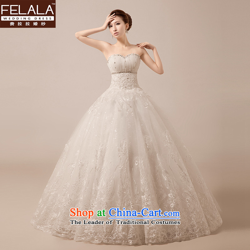 Ferrara?2015 new Korean style of a cardioid anointed chest wedding bride white film lace bon bon yarn large spring?XL?Suzhou Shipment