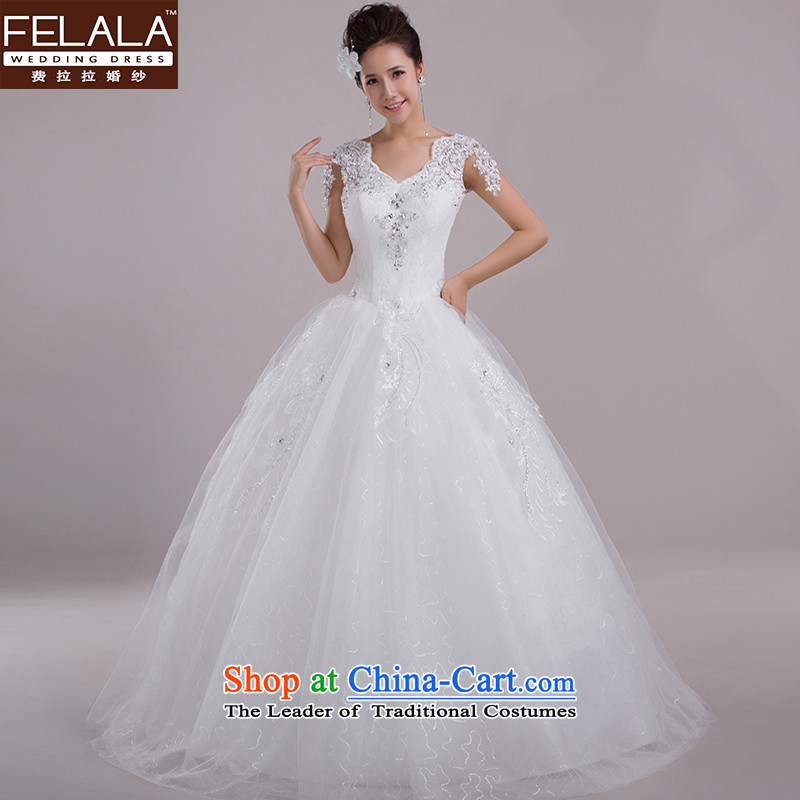 Ferrara wedding dresses new spring of 2015 Field shoulder Korean marriages bon bon skirt the drill large yard white?L