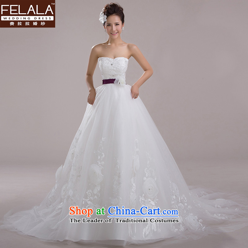 Ferrara�2015 new anointed chest marriages wedding Korean Flower Princesses bon bon yarn large tail large white�M�Suzhou Shipment