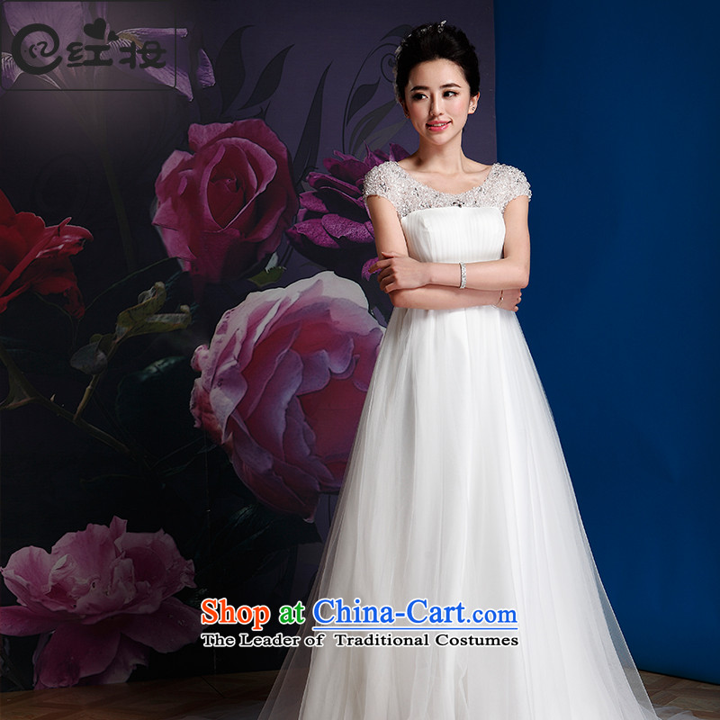 Recalling that Colombia Summer, red pregnant women high wedding dresses waist 2015 new Korean lace video word thin shoulders small trailing Korean shoulders H14718 strap white�L