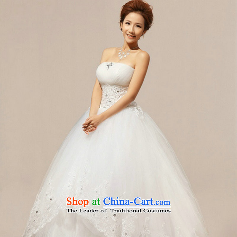 There is also a grand Korean-style optimize new and chest Flash video thin lace straps to align the bride wedding dresses XS1059聽XXXL White