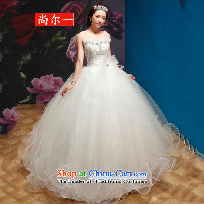 Naoji a 2014 new wedding a field to align the shoulder princess bon bon wedding QQC1003 white?L