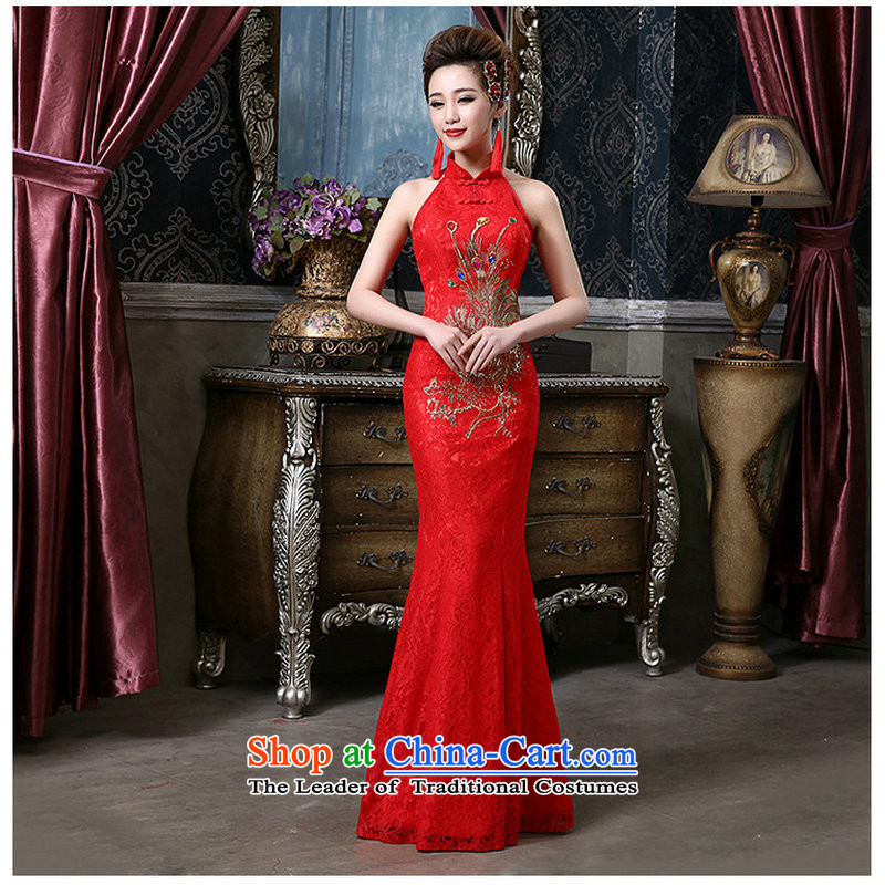Naoji a bride also hang red back lace Phoenix crowsfoot qipao QQC1004 large red聽XXL