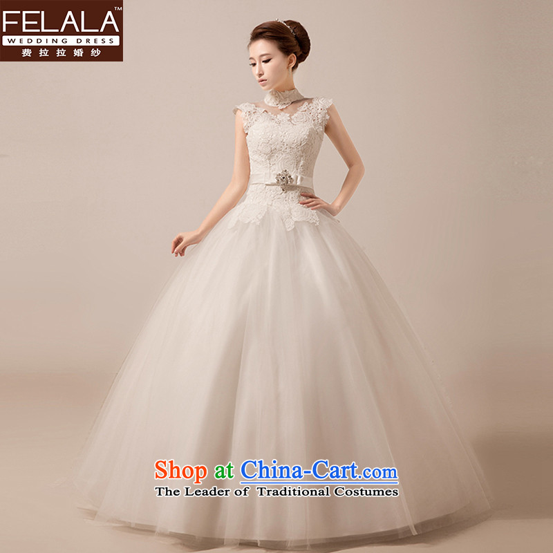 Ferrara wedding dresses 2015 new rosebuds circled population of diamond ornaments bon bon yarn retro collar winter Princess, Wedding White M Suzhou Shipment