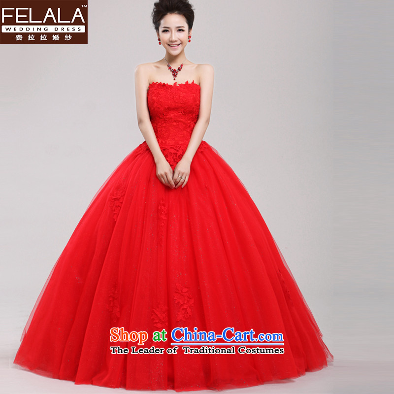 Ferrara?2013 new red very wang wedding minimalist lace anointed chest bon bon skirt large red winter?L?Suzhou Shipment