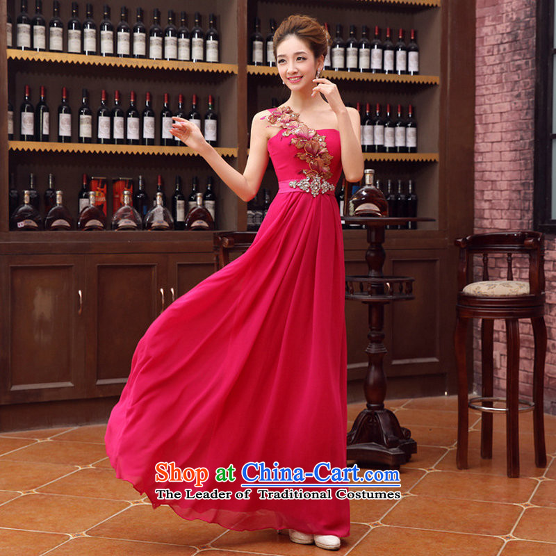 Optimize Multimedia silk is a new stylish bright single shoulder evening dresses bride dress Korean style serving the red XS1066 bows�XL