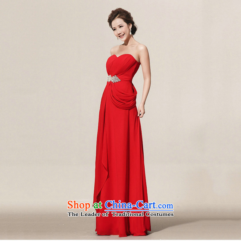There is also optimized 8D graphics thin dress red bridal dresses bows long service banquet service XS1067?XXXL red