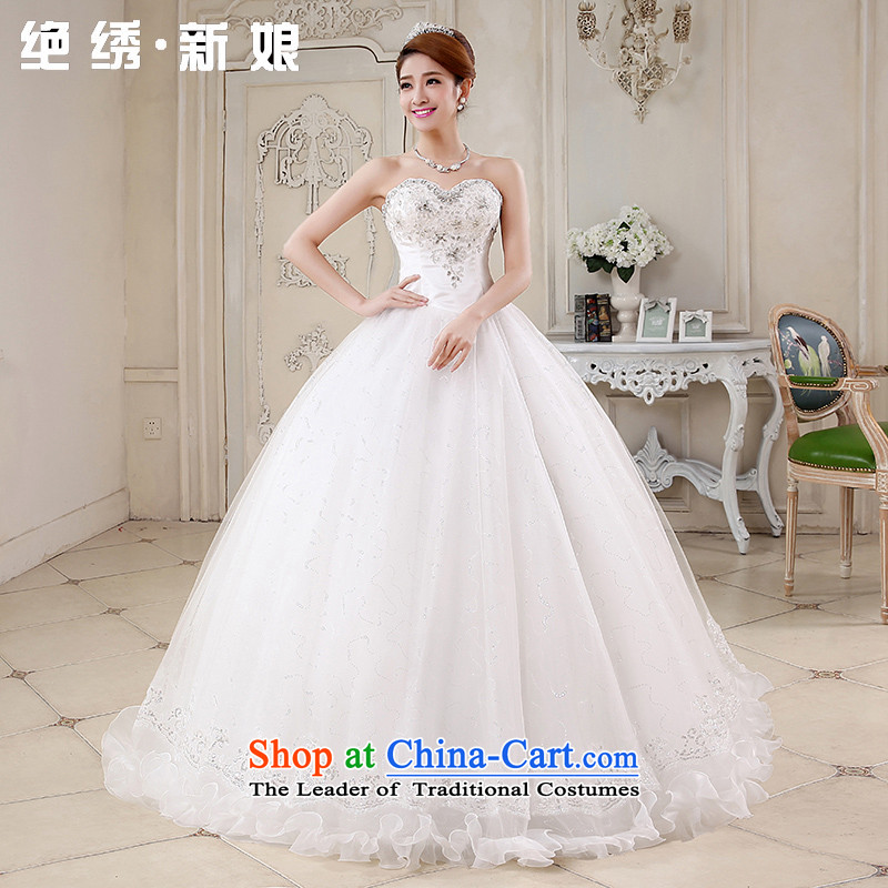 No new 2015 bride embroidered spring and summer Korean wiping the chest straps to align the diamond wedding dresses marriages White XXL Code Suzhou Shipment