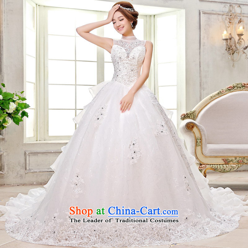 Mrs Alexa Lam roundup new hang also bride wedding dresses new 2014 Korea mounted also long tail strap white?L(2.4) 15681 Embroidery