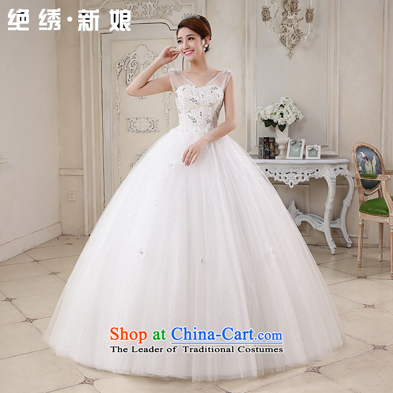 Embroidered bride Han-is stylish and elegant with sweet summer marriage sexy shoulder straps Drill Waters V bon bon skirt wedding White�M Code Suzhou Shipment